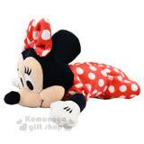 〔小禮堂﹞迪士尼 米妮 絨毛造型筆袋《黑.全身.點點洋裝》