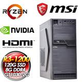 微星平台B350平台【殘暴打擊】AMD Ryzen R3 1200 四核心 微星 GT 1030 2G獨顯 120G SSD 8G D4