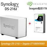 Synology 群暉 DS216j 2Bay 網路儲存伺服器 + Seagate 希捷ST1000VX005監控 1TB