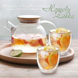 【Homely Zakka】午茶食光1壼2杯好友共飲組 (1000ml玻璃壼&雙層玻璃杯250ml)