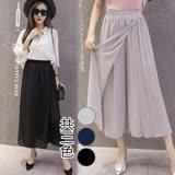 【韓國KW】法國設計壓折雪紡假二件式褲裙