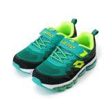 (大童) LOTTO WAVEKNIT 編織氣墊跑鞋 黑綠 LT7AKR5310 童鞋 鞋全家福