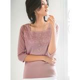 日本預購-portcros胸口蕾絲七分袖上衣(共七色/M-LL)