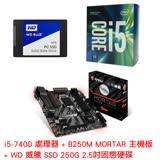 《快樂價》Intel i5-7400+微星 B250M MORTAR 主機板+威騰(藍標)250GB SSD