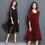 【Jisen】唯心古典二件套蕾絲洋裝(黑色,M~XL)