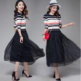 【Jisen】簡約橫紋針織拼接長洋裝(黑色,XL~2L)