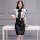 【Jisen】文靜典雅條紋拼接洋裝  (黑色,XL)