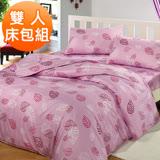 【J-bedtime】雙人三件式雲絲絨床包枕套組-飄飄葉語-紫(任)