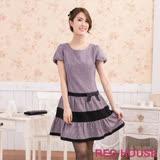 Red House 蕾赫斯-毛料包袖洋裝(紫色)