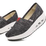 【Maya easy】增高搖擺鞋 帆布鞋 懶人套腳鞋 銀線布系列-黑色
