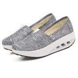 【Maya easy】增高搖擺鞋 帆布鞋 懶人套腳鞋 銀線布系列-灰色