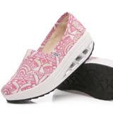 【Maya easy】增高搖擺鞋 帆布鞋 懶人套腳鞋 阿波羅紋系列-粉色