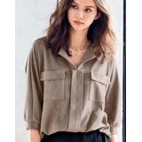 日本ANNA LUNA 預購-率性雙口袋仿麂皮襯衫(共三色/M-3L)
