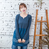 【Tiara Tiara】激安 田園風小花拼接下擺長袖長版上衣(藍)