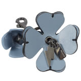 COACH 經典LOGO PVC皮革花朵造型鑰匙圈.粉藍