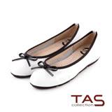 TAS 太妃Q系列 柔軟乳膠素面質感蝴蝶結娃娃鞋-時尚白