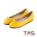 TAS 太妃Q系列 柔軟乳膠素面質感蝴蝶結娃娃鞋-亮眼黃