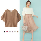 日本ANNA LUNA 預購-圓領素色寬鬆七分袖針織上衣(共6色/F)