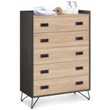 MY傢俬 木質設計淺木色2.6尺五斗櫃/抽屜櫃/收納櫃