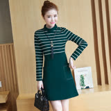 【Jisen】甜美氣質條紋拼接洋裝 (綠色L,酒紅色2L)