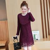 【Jisen】恬靜優雅抓絨蕾絲洋裝 (紅色、黑色,M~XL)