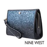 NINE WEST--閃耀派對硬挺皮革手拿包--星空藍