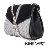 NINE WEST--菱格壓紋絨布鏈帶肩背包--毛料灰黑