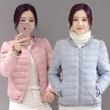 【REKO】花邊領短版修身羽絨棉外套M~2XL(共六色)