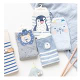 秋冬保暖寶寶中筒童襪4雙禮盒組-藍色企鵝(S175E)