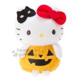〔小禮堂〕Hello Kitty 造型絨毛玩偶娃娃《黃.眼罩.南瓜裝》萬聖節造型系列