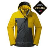 【美國 The North Face】男新款 GORE-TEX 防水透氣耐磨連帽兩件式外套.夾克/防風風雨衣/內件600FPI鵝絨填充/365B 黃灰 N