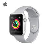 Apple Watch Series 3 42mm 銀色鋁金屬錶殼搭配薄霧灰色運動型錶帶+玻璃鍍膜