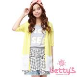 betty's貝蒂思 配色五分袖針織罩衫(黃色)