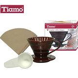 Tiamo V01 1-2人份陶瓷濾杯附濾紙40枚入(咖啡色)-(HG5031)