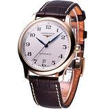 LONGINES Master系列18K金自動機械皮帶腕錶L26288783