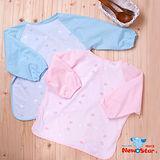 【聖哥-明日之星Newstar】MIT嬰幼兒嬰兒長袖圍兜-自粘扣-XL-超好用-用餐勞作圍兜-好用推薦-防水透氣-清洗方便-藍-粉