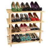 【LIFECODE】自然風格-免螺絲實木四層鞋架/組合鞋架