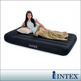 【INTEX】舒適型-單人加大植絨充氣床墊(寬99cm)-有頭枕設計 (66767)