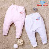 【聖哥-Newstar】MIT厚款新生兒嬰兒長褲-100%純棉可-素色-藍-粉紅-束口設計-0到6個月