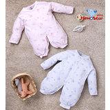 【聖哥-Newstar】MIT100%純棉-緹花新生兒嬰兒兩用兔衣睡袍長袍-藍-粉紅-(厚、全釦)適0~12個月嬰兒