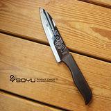 SOYU料理大師黑色夜鏡雲紋雕陶瓷刀(烏木柄6吋)
