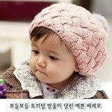 購物車:甜美《貝蕾公主帽-粉紅》毛球毛線帽