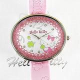 【Hello Kitty 精品】閃亮蕾絲幸運草大錶面手錶
