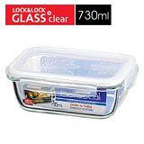 樂扣樂扣 第三代玻璃保鮮盒-長方形緹花上蓋(730ml)