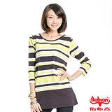 【BOBSON】女款橫條紋長版五分袖上衣(綠59)