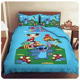 【星際寶貝-史迪奇-歡樂跳躍】單人三件式被套床包組-藍