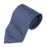 TRUSSARDI 細緻LOGO雙菱圖時尚領帶-湛藍色