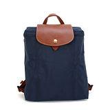 Longchamp Le Piage拉鍊尼龍輕巧後背包-深藍色