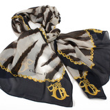 Christian Dior 時尚斑馬紋長版絲巾-黑/咖啡