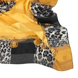 Christian Dior 豹紋項鍊框邊緞面領帕巾-黃色